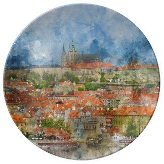 Prague Castle in Czech Republic Porcelain Plates