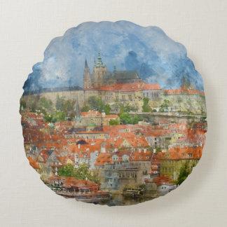 Prague Castle in Czech Republic Round Pillow