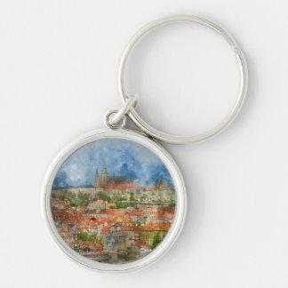 Prague Castle in Czech Republic Silver-Colored Round Keychain