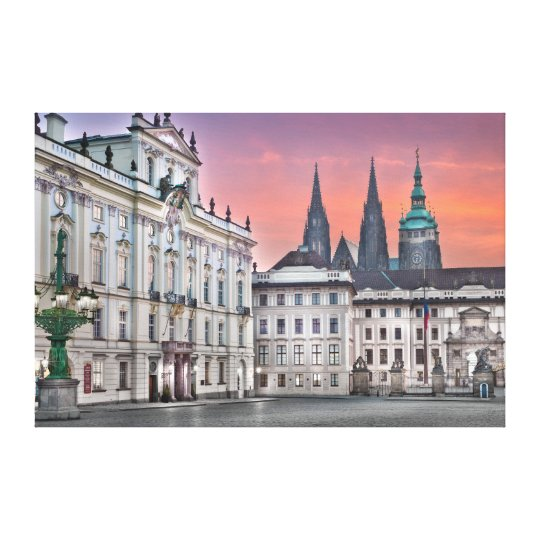 Prague Castle Square Morning Canvas