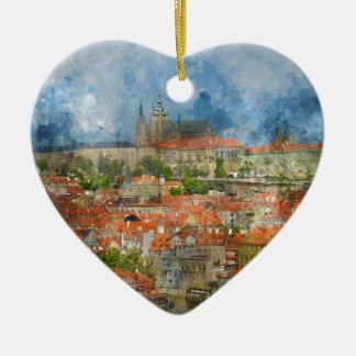 Prague Castle with famous Charles Bridge in Czech Ceramic Heart Ornament