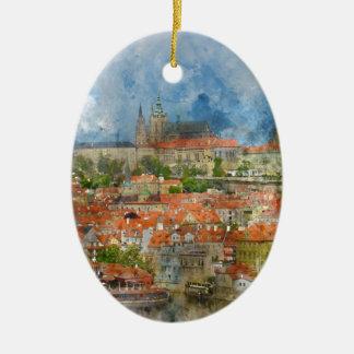 Prague Castle with famous Charles Bridge in Czech Ceramic Oval Ornament