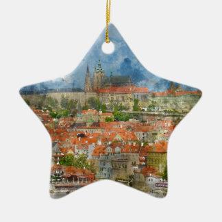 Prague Castle with famous Charles Bridge in Czech Ceramic Star Ornament