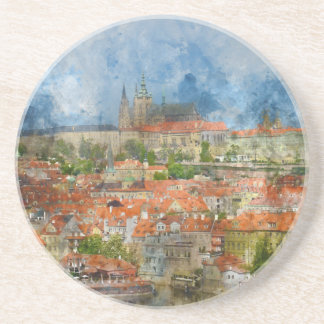 Prague Castle with famous Charles Bridge in Czech Drink Coaster