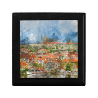 Prague Castle with famous Charles Bridge in Czech Gift Box