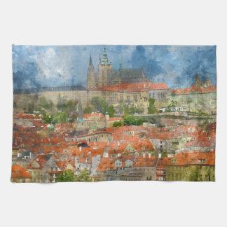 Prague Castle with famous Charles Bridge in Czech Kitchen Towel
