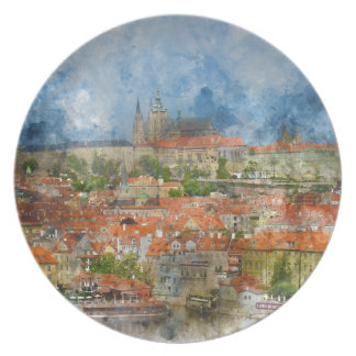 Prague Castle with famous Charles Bridge in Czech Plate