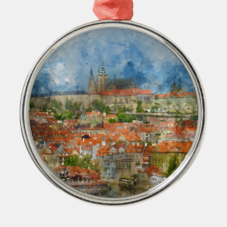 Prague Castle with famous Charles Bridge in Czech Silver-Colored Round Ornament