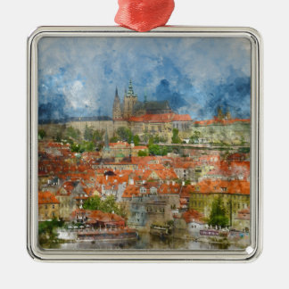 Prague Castle with famous Charles Bridge in Czech Silver-Colored Square Ornament