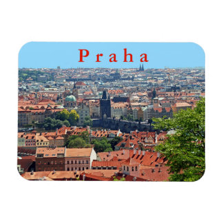Prague. Charles Bridge and Tiled Roofs. Magnet