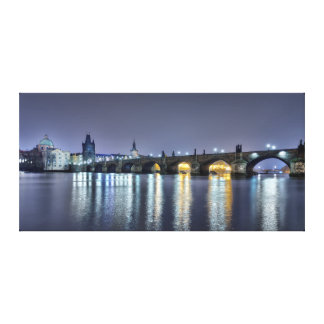 Prague Charles Bridge Old Town Night Canvas