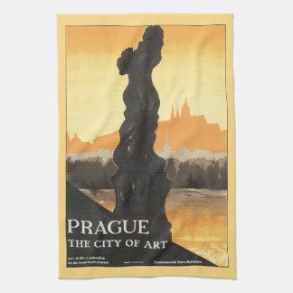 Prague City of Art Vintage Travel Poster Kitchen Towel
