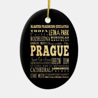 Prague City of Czech Republic Typography Art Ceramic Ornament