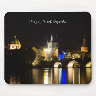 Prague Cityscape at Night Mouse Pad