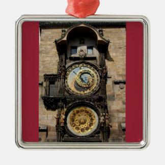 Prague Czech Republic Clock Metal Ornament
