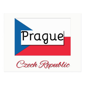 Prague Czech Republic Flag Postcard