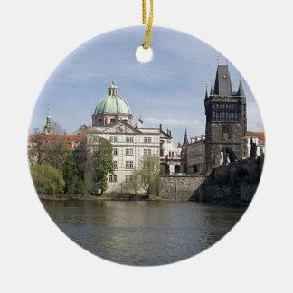 Prague in the spring ceramic ornament