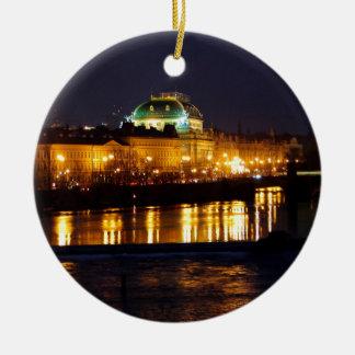 Prague National Theater Round Ceramic Ornament