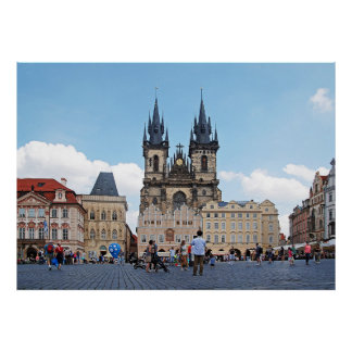 Prague. Old Town Square and Tyn Church. Poster