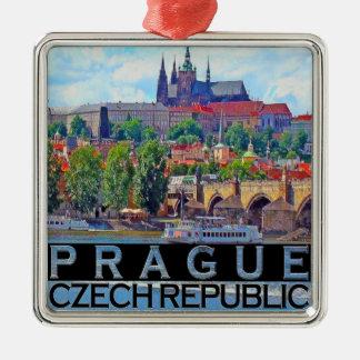 Prague Silver-Colored Square Ornament
