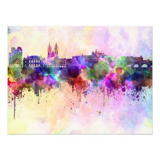 Prague skyline in watercolor background photo print