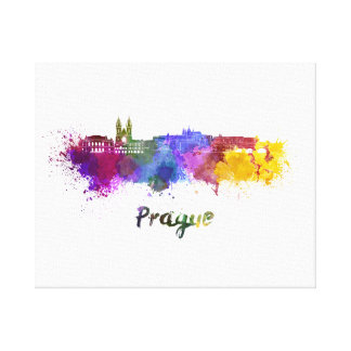 Prague skyline in watercolor canvas print