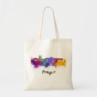 Prague skyline in watercolor tote bag