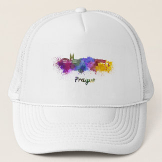 Prague skyline in watercolor trucker hat