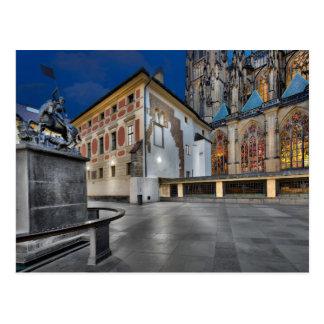 Prague St.Vitus Cathedral at Night Postcard