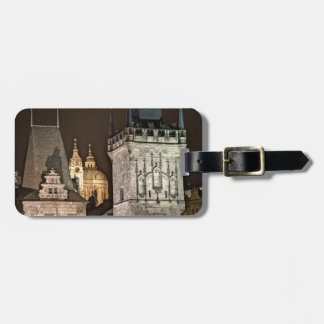 Prague Towers Night Luggage Tag
