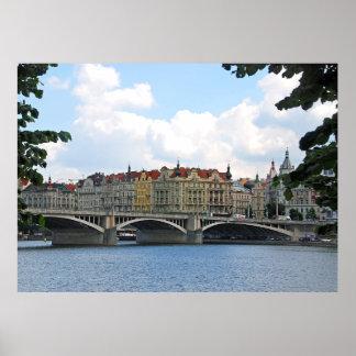 Prague. View of the embankment of the Vltava River Poster