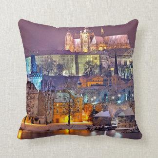 Prague-winter night throw pillow