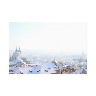 Prague Winter Rooftops Canvas Print