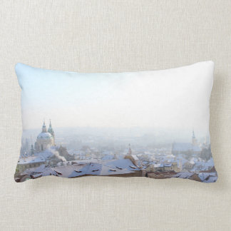 Prague Winter Rooftops Lumbar Pillow