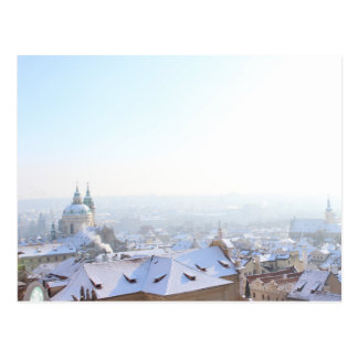 Prague Winter Rooftops Postcard