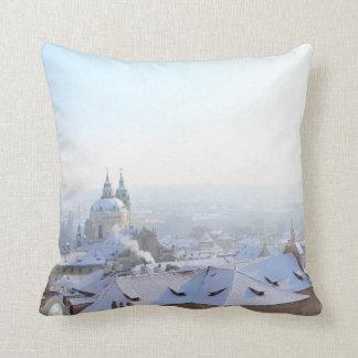 Prague Winter Rooftops Throw Pillow