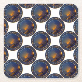 Praha by Night Square Paper Coaster