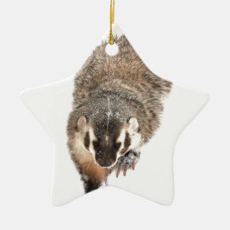 Prairie Badger in Winter snow Ceramic Ornament