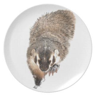 Prairie Badger in Winter snow Dinner Plates