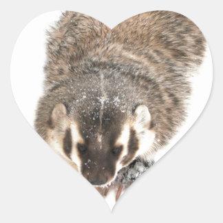Prairie Badger in Winter snow Heart Sticker