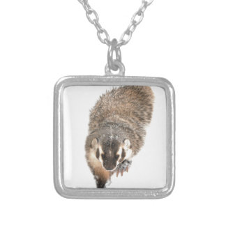 Prairie Badger in Winter snow Silver Plated Necklace