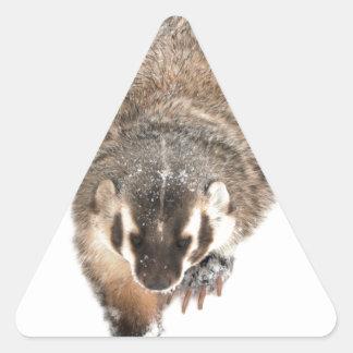 Prairie Badger in Winter snow Triangle Sticker