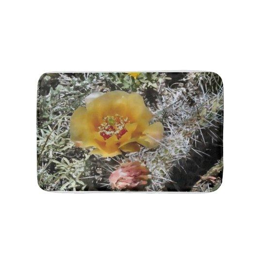 Prairie cactus flower bath mat