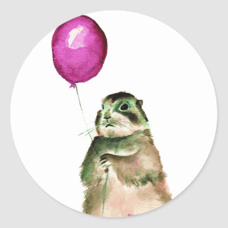 Prairie Dog Balloon Round Sticker