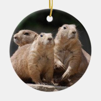 Prairie Dog Family Ceramic Ornament