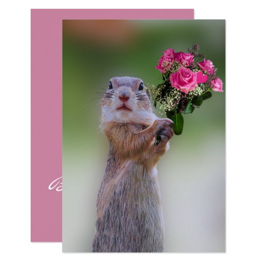 Prairie Dog with Pink Roses Bridesmaid Card