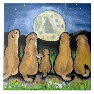 "Prairie Dogs Family and Moon Blue 6"" Tile Trivet"