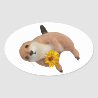 prairie dog's stuffed toy oval sticker