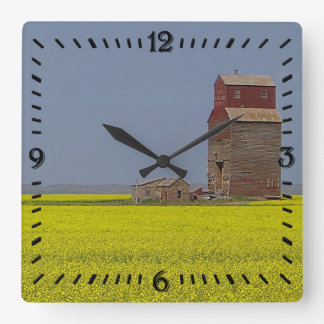 Prairie Elevator Landscape Square Clock
