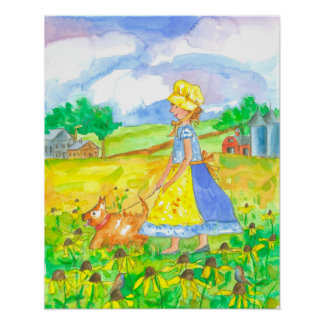 Prairie Girl Walking Dog Farm House Poster
